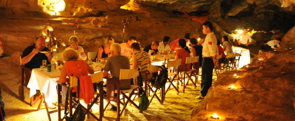 Dinner in cave in halong bay